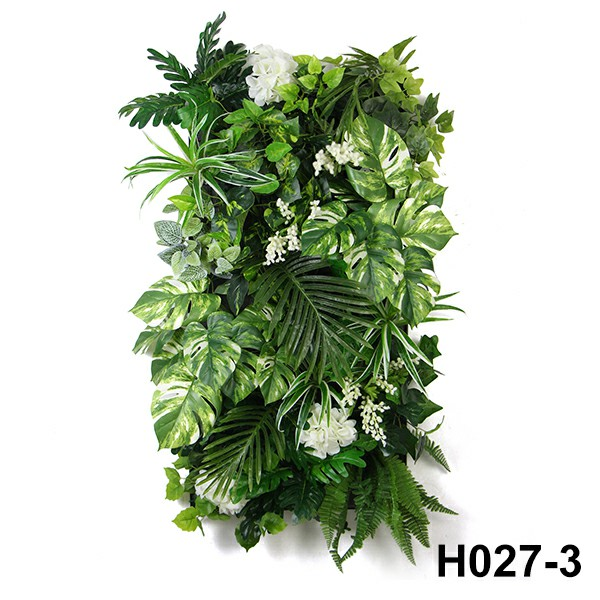 artificial green wall with flowers