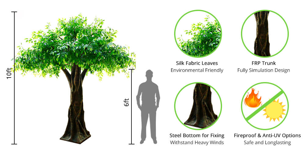 Sunwing large artificial trees features