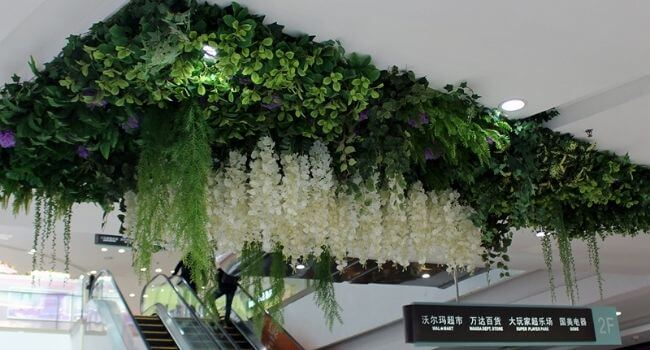artificial hanging plants add accents
