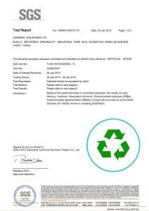 No Heavy Metal Faux Plants Certificate
