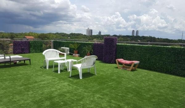 residential artificial landscape grass and plants