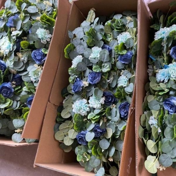 artificial floral wreaths and greenery garlands