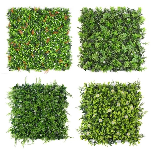 artificial hedge walls with flowers